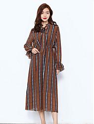economico -Per donna Quotidiano Casual Swing Medio Vestito,Basic A strisce Rotonda Maniche lunghe Vita alta Autunno Seta