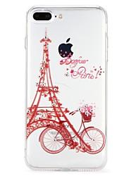baratos -Capinha Para Apple iPhone 7 iPhone 6 Com Strass Com Relevo Capa Traseira Desenho Animado Torre Eiffel Macia TPU para iPhone 8 Plus iPhone