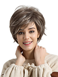 cheap -Synthetic Hair Wigs Natural Wave Side Part Highlighted/Balayage Hair Pixie Cut With Bangs Capless Natural Wigs Short Brown White