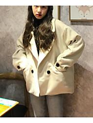 Недорогие -Жен. Пальто V-образный вырез Однотонный, Шерсть Хлопок Крупногабаритные