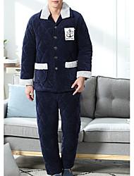cheap -Men's Suits Pajamas,Print Polyester Blue