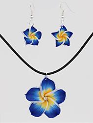 preiswerte -Damen Tropfen-Ohrringe Halskette , Blumig Ethnisch Elegant Alltag Leder Harz Blume 1 Halskette Ohrringe