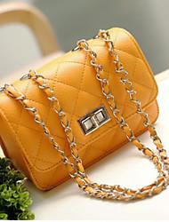 cheap -Women's Bags PU Shoulder Bag Zipper for Casual All Seasons Blue Black Orange Yellow Fuchsia