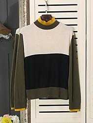 Недорогие -Для мужчин Повседневные На каждый день Обычный Пуловер Однотонный,Круглый вырез Длинный рукав Нейлон Смесь шерсти Зима Плотная