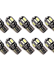cheap -10pcs LED Canbus Error Free T10 5630 Auto Parking Lights W5W 8SMD LED Car Wedge Tail Side Bulbs Reading Lamps DC12V