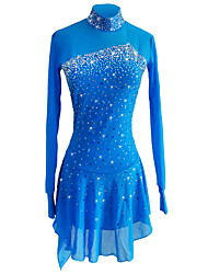 abordables -Robe de Patinage Artistique Femme / Fille Patinage Robes Bleu Ciel Spandex, Fil élastique Elastique Tenue de Patinage Paillette Manches