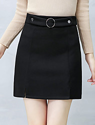 cheap -Women's Going out Work Knee-length Skirts,Casual Sexy Bodycon Cotton Others Solid Winter Spring/Fall