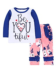 cheap -Baby Girls' Birthday Daily Floral Clothing Set, Cotton Spring Cute Active Long Sleeves White