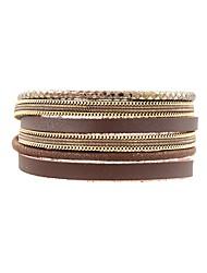 billige -Dame Wrap Armbånd - Læder, Guldbelagt Klassisk, Vintage Armbånd Kaffe Til Daglig Stævnemøde