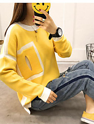 cheap -Women's Sports & Outdoor Casual/Daily Regular Pullover,Color Block Round Neck Long Sleeves Cotton Cotton/nylon with a hint of stretch