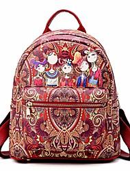 baratos -Mulheres Bolsas PU mochila Estampa Verde / Rosa / Roxo