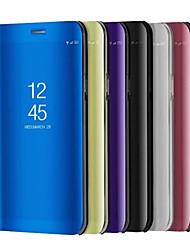 Недорогие -Кейс для Назначение Xiaomi со стендом Покрытие Зеркальная поверхность Флип Авто Режим сна / Пробуждение Чехол Сплошной цвет Твердый Кожа