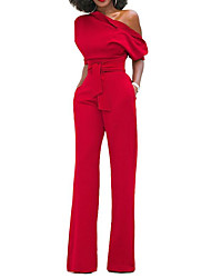 cheap -Women's Holiday Sophisticated Cotton Jumpsuit - Solid Colored, Bow Wide Leg One Shoulder