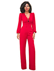 cheap -Women's Party Daily Sexy Street chic Solid Deep V Jumpsuits,Wide Leg Long Sleeves Spring Fall Cotton Polyester