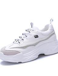 preiswerte -Damen Schuhe PU Frühling Herbst Komfort Sneakers Flacher Absatz Geschlossene Spitze für Normal Draussen Weiß Schwarz