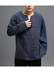 cheap -Men's Going out Casual/Daily Street chic Fall T-shirt,Solid V Neck Long Sleeves Cotton Linen Medium