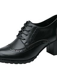 Недорогие -Жен. Обувь Кожа Весна Лето Удобная обувь Туфли на шнуровке На толстом каблуке Круглый носок Закрытый мыс для Для вечеринки / ужина Офис и