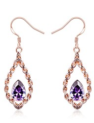 cheap -Women's Cubic Zirconia / Synthetic Sapphire Drop Earrings - Rose Gold Drop, Flower Classic, Vintage, Elegant Rose Gold For Wedding / Evening Party