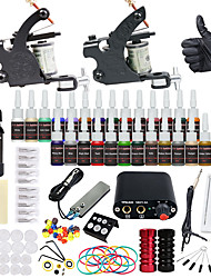 cheap -Tattoo Machine Starter Kit 2 alloy machine liner & shader Mini power supply 2 x aluminum grip 20 pcs Tattoo Needles
