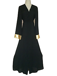 cheap -Jalabiya / Kaftan Dress / Abaya Women's Festival / Holiday Halloween Costumes Black Solid Colored Fashion