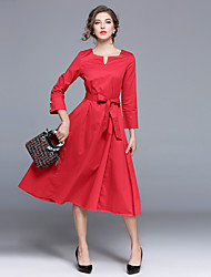 cheap -MAXLINDY Women's Vintage Puff Sleeve A Line Dress - Solid Colored, Bow High Waist V Neck
