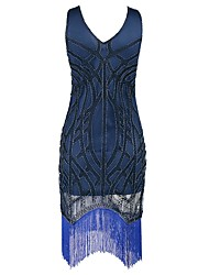 abordables -Gatsby Années 20 Costume Femme Robe à clapet Bleu de minuit Vintage Cosplay Polyester Manches Courtes Mancheron
