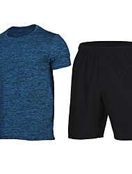 cheap -Men's Running Shirt with Shorts - Blue, Pink, Grey Sports Shorts / Sweatshirt Fitness, Gym, Workout Short Sleeve Activewear Fast Dry