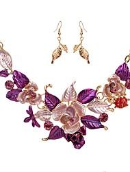 baratos -Mulheres Conjunto de jóias - Imitações de Diamante Flor Clássico, Fashion Incluir Brincos Compridos / Colar Roxo / Azul Para Noivado / Cerimônia