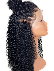 cheap -Human Hair Brazilian Lace Wig Jerry Curl Curly Kinky Curly Glueless Lace Front With Baby Hair Unprocessed Middle Part Natural Hairline