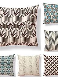 cheap -6 pcs Textile Cotton/Linen Pillow Cover,Floral Geometric Retro