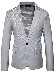 abordables -Hombre Casual Diario Noche Primavera Otoño Regular Blazer, Cuello Camisero Estampado Floral Algodón