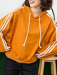 女性用 小柄 シンプル 日常 パーカー プリント フード付き フーディーズ マイクロエラスティック コットン 長袖 春