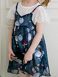 Недорогие -Девичий Платье Повседневные Полиэстер Растровые точки Лето С короткими рукавами Очаровательный Желтый Тёмно-синий
