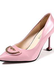 preiswerte -Damen Schuhe Leder Sommer Leuchtende Sohlen High Heels Walking Stöckelabsatz Spitze Zehe für Normal Weiß Schwarz Rot Rosa