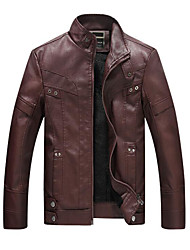 cheap -Men's Daily Work Vintage Casual Winter Fall Leather Jacket,Solid Stand Long Sleeve Regular PU Rayon