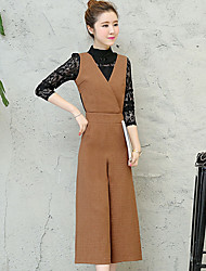 cheap -Women's Daily Vintage Spring Blouse Pant Suits,Solid Crew Neck Long Sleeve Polyester Stretchy