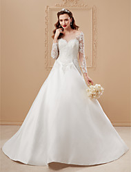 cheap -A-Line Princess Illusion Neckline Court Train Lace Satin Wedding Dress with Lace by LAN TING BRIDE®