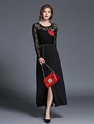 cheap -Women's A Line Sheath Lace Dress - Solid, Lace Maxi