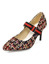 baratos -Mulheres Sapatos Tecido Primavera / Outono MaryJane Saltos Salto Agulha Dedo Apontado Laço Preto / Rosa claro / Festas & Noite