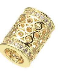 Недорогие -Ювелирные изделия DIY 1 штук Бусины Искусственный бриллиант Сплав Золотой Серебряный Розовое золото Цилиндр Шарик 0.5 cm DIY Ожерелье