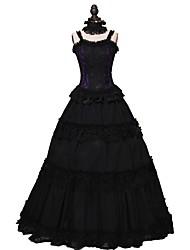 abordables -Victorien Rococo Costume Robes Noir Vintage Cosplay Fibre de coton Sans Manches Accueil froid Longueur Cheville