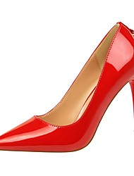 cheap -Women's Shoes Leatherette Spring Fall Comfort Heels Stiletto Heel Pointed Toe for Dress Gray Yellow Red Pink Nude
