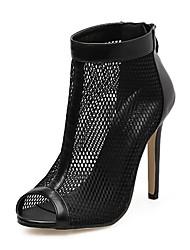 baratos -Mulheres Sapatos Tule / Courino Primavera / Verão Conforto / Inovador / Botas da Moda Sandálias Salto Agulha Preto / Casamento