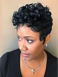 Недорогие -Человеческие волосы без парики Натуральные волосы Афро / Мелкие кудри Стрижка под мальчика / Короткие Прически 2019 Прически Холли Берри Стиль Парик в афро-американском стиле Короткие