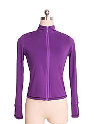 cheap -Figure Skating Fleece Jacket Women's / Girls' Ice Skating Top Black / Violet Spandex Stretchy Performance / Practise Skating Wear Solid