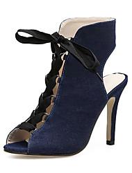 baratos -Mulheres Sapatos Jeans Primavera Verão Botas da Moda Inovador Conforto Sandálias Salto Agulha para Casamento Azul Leopardo