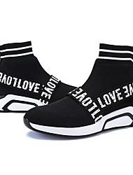 Недорогие -Жен. Обувь Ткань / Полиуретан Весна / Осень Удобная обувь Спортивная обувь Беговая обувь На плоской подошве Круглый носок Черный / Красный