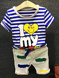 cheap -Boys' Daily Holiday Striped Cartoon Clothing Set, Cotton Summer Half Sleeves Blue