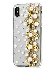 preiswerte -Hülle Für Apple iPhone X iPhone 8 Plus Strass Ganzkörper-Gehäuse Blume Hart PU-Leder für iPhone X iPhone 8 Plus iPhone 8 iPhone 7 Plus