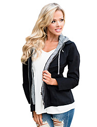 cheap -Women's Daily Going out Street chic Winter Jacket,Color Block Hooded Long Sleeve Regular Polyester Spandex